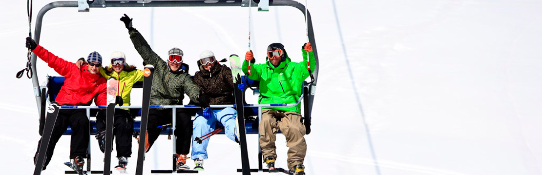 Five Skiers on a Chairlift