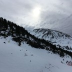 The snow is on it's way to El Tarter. Taken from the Tosa Espiolets chairlift looking across to the Llosada chairlift.