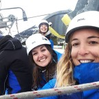 Rebecca, Ellen and Esther excited for the Canillo zipline