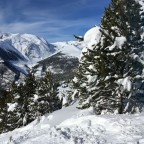 Snow covered trees and mountains in Canillo - we cannot get enough of these conditions!