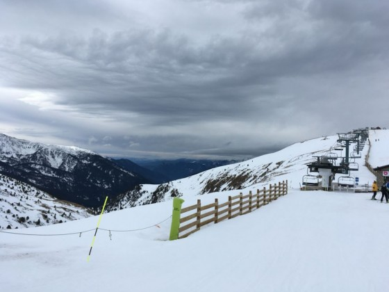 Snow clouds rolling into Canillo, taken from base of TSF4 Els Clots lift