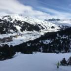 View of Soldeu resort from red Salvans run