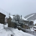 The town of Soldeu full of snow