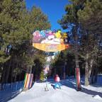 Skiing down Circus kids run