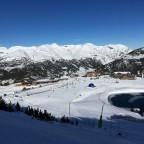 View of TC8 Soldeu Gondola station and Soldeu Ski School from red Llebre run