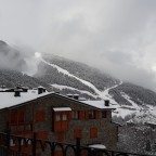 Grandvalira X (Aliga black slope) in a dusting of white snow