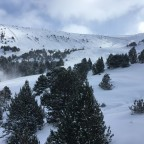 Enjoying views of snow covered trees whilst on the TSD6 Llosada chairlift on powderday