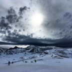 Snow clouds rolling into Grandvalira Soldeu. Looking across to the top of the TSD6 Solana and TSD6 Llosada chairlifts.