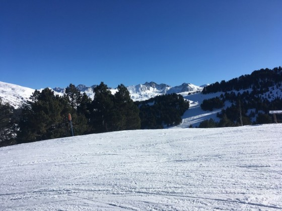 Skiing down the blue slope Os