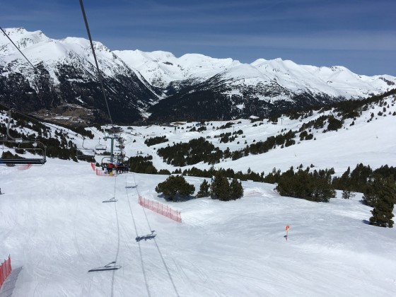 Looking back at El Tarter from Llosada chairlift