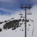 Blue sky creeping through above the Solana chairlift