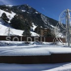 The roundabout in Soldeu was covered in snow