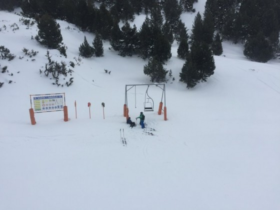 Skiers having a break