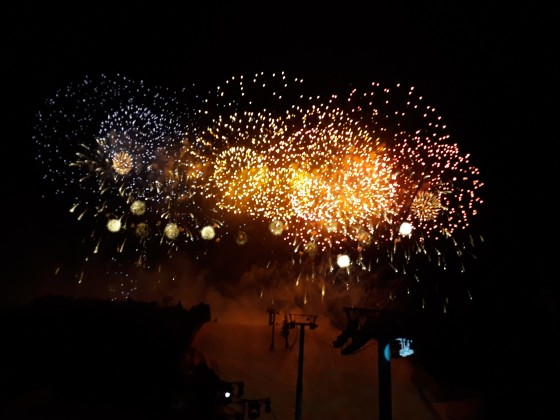Amazing fireworks display above Avet black slope (Soldeu) - FIS World Cup opening ceremony 12.03.2019