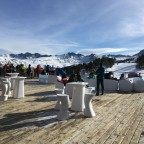 Sunny day on the terrace of La Cabana, located at the top of the TSD6 Soldeu chairlift.