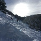 Challenging steep off-piste runs on powder day in Canillo