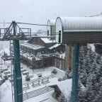 The gondola station and Sol I Neu covered with snow